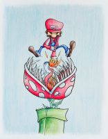 Super Mario vs. Piranha Plant by IanLammiArt