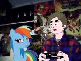 playing ps3 with rainbow dash by pewdiedash