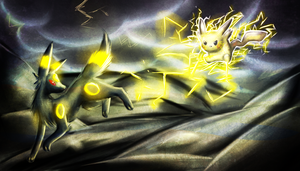 Commish-Gift: Pikachu And Umbreon Battle by ZailaWulF