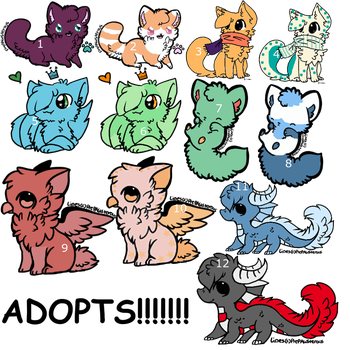 ANIMAL ADOPT!(Selling for points only!) by MintyMagic74