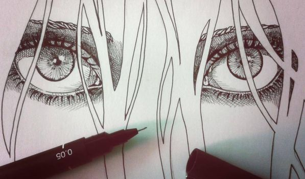 EYES WITH PEN by the1illustrator