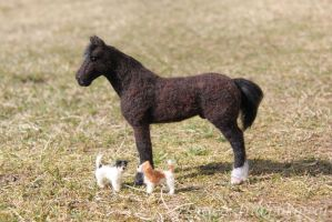 Horse and Jack Russel Terriers by Deseo91