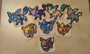 Eeveelution as coasters by RavenTezea