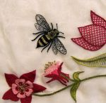 Scalloped Veil - Detail - Embroidered Bee by sidneyeileen