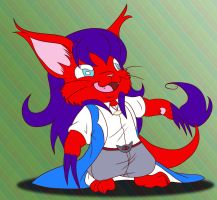 chibi red kitty by Foxbeast