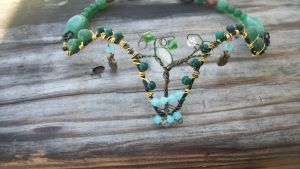 Aventrine, Topaz and Emerald Tree of Life Choker by WyckedDreamsDesigns