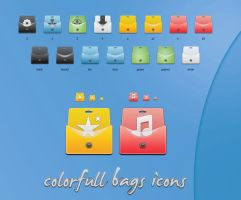Colorfull bags icons by blymar