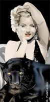 Marilyn Monroe with Panther (digital drawing) by eyeqandy
