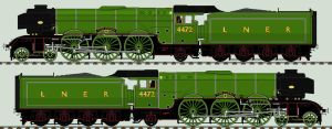 LNER A3 liveries - 4472 'Flying Scotsman' (2004) by 2509-Silverlink