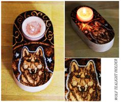 Pyrography - Wolf tealight holder by BumbleBeeFairy