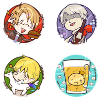 Hetalia: Pin set 1 by Animus-Rhythm