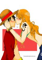 Luffyx nami_Kiss On Nose by faramitha