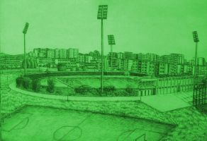 Drawing - Panorama Of The City Stadium (03) by eduaarti