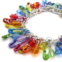 Rainbow Safetypin Bracelet by fairy-cakes
