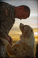 Soldier and Dog by XetsaPhoto
