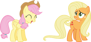 Fluttershy and Applejack mane-swapped by rolin11