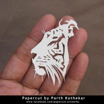 miniature papercut - tiger by ParthKothekar