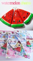 kawaii watermelon slices by cutieexplosion