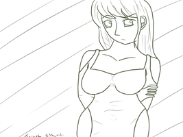 Revise Green Lineart  Of A Sad Anime Girl by gtstyling32