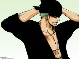 SHIT JUST GOT REAL, Zoro coloring by AnnaHiwatari