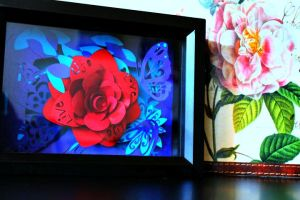 Paper Rose Shadow Box by SugiAi