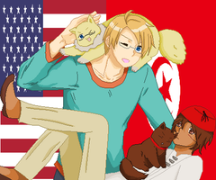 Hetalia- America and Tunisia by MapleBeer-Shipper