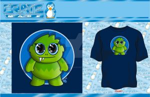 green cute monster t-shirt by godzillasmash