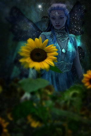 A Walk In The Sunflowers by thefantasim