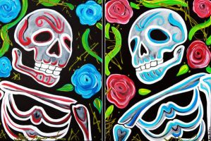 Red and Blue Skulls and Roses by barbosaart