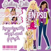 VECTORES EN .PSD Walking Dolls [Barbie and Teresa] by ultimate-designs
