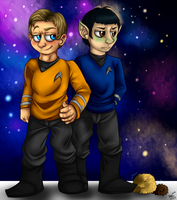 Kirk, Spock and some Tribbles by Homicidal-Hobbit