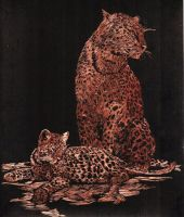 Copper Leopards Engraving by TerrorDragon