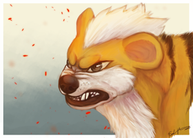 Growlithe - Speed painting by Esaki