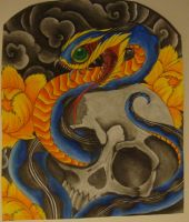 snake and skull finished by BiTTENwolf