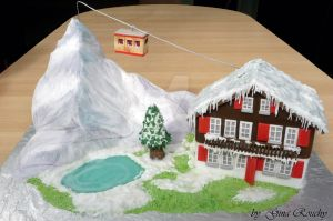 Switzerland Scene Cake by ginas-cakes