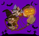Mordecai and RIgby Halloween by OysteIce