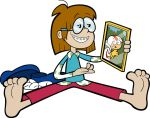 Barefoot Wacky Jackie looking at a picture of Kick by DragonBallFan2012