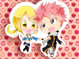 Natsu x Lucy chibi by reicel-chan
