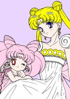 Chibiusa and Serenity by XNekoXMika