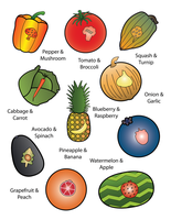 8 Veggies and Fruits Cards by FightTheAssimilation