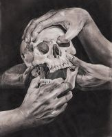 Studies [hands and skull] by yaokhuan