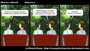 Men on a Bench - Difference by Renegade-Hamster