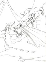 Dragons collide - lineart by Jackie-Blaire
