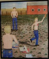 Farmkids Water Fight by stopsigndrawer81