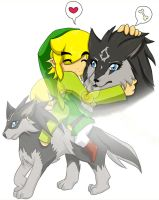 Fanart:Toon Link and Wolf Link by Azralorne