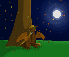 Autumn leaves in the Night sky by BlackDragonArtist