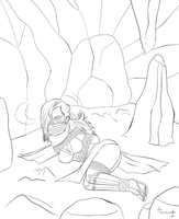 COMMISSION: Kunoichi in a cave by Zoudai