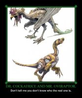 Dr. Cockatrice and Mr. Oviraptor. by TheArchosaurQueen