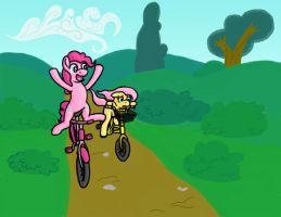 Pinkie and Fluttershy Biking by RydelFox