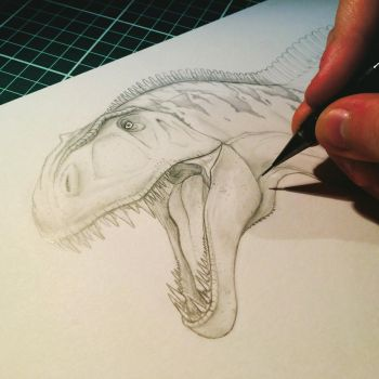 Acrocanthosaurus Sketch (UNFINISHED) by nick-tyrrell